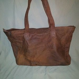 PLEASE SHARE. Brown Leather Tote. T & H